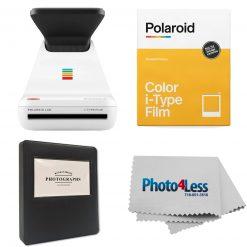 "Polariod Lab Instant Photo Printer+Polaroid Color Film for I-Type+Phobea Leather 5""  Photo Album Holds 32 Prints+Cleaning Cloth"