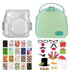Xit Green Round Case for Fuji Instax Mini Camera + Holiday Theme Accessories Kit