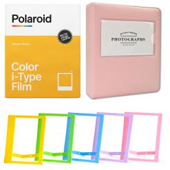 "Polaroid Color Film for I-Type (8 Exposures) + Phobea Leather 5"" Photo Album for Wide Prints Holds 32 Prints- Pink + Plastic color frames"