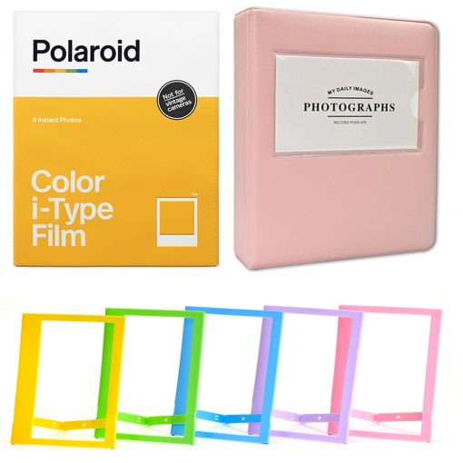 Polaroid Color Film for I-Type (8 Exposures) + Phobea Leather 5″ Photo Album for Wide Prints Holds 32 Prints- Pink + Plastic color frames