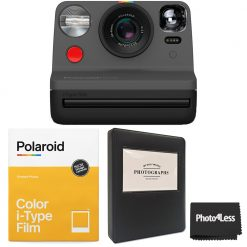 "Polaroid NOW i-Type Camera - Black + Polaroid Color i-Type Instant Film (8 Exposures) +  Phobea Leather 5"" Photo Album for Wide Prints Holds 32 Prints- Black + Cloth"