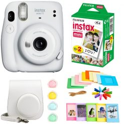 Fujifilm Instax Mini 11 Instant Camera - Ice White (16654798)  + Fujifilm Instax Mini Twin Pack Instant Film (16437396) + Case + Hanging Frames + Plastic Frames + Close-Up lens filters + Cloth