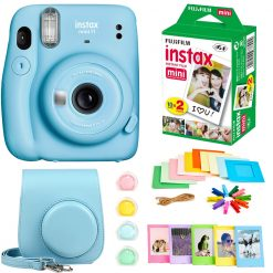 Fujifilm Instax Mini 11 Instant Camera - Sky Blue (16654762) +  Fujifilm Instax Mini Twin Pack Instant Film (16437396) +  Case + Hanging Frames + Plastic Frames + Close-Up lens filters + Cloth