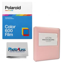 Polaroid Color Film for 600 Color Frame + Pink Album holds 32 photos + Cleaning Cloth