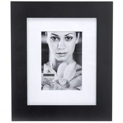 Malden 8x10 Matted Picture Frame - Made to Display Pictures 5x7 with Mat, or 8x10 without Mat - Black (2082-57)