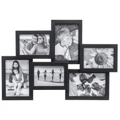 Malden International Designs Crossroads Puzzle Collage Picture Frame, 6 Option, 3-3.5x5 & 3-4x6, Black (2119-60)