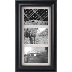 Malden International Designs Barnside Textured Mat 3-Opening Picture Frame, Holds 5 by 7-Inch Picture, Black