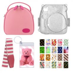 Xit Pink Round Case for Fuji Instax Mini Camera + Holiday Theme Accessories Kit