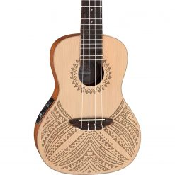 Luna Tapa Solid Spruce Acoustic/Electric Concert Ukulele with Preamp & Gig Bag, Satin Natural