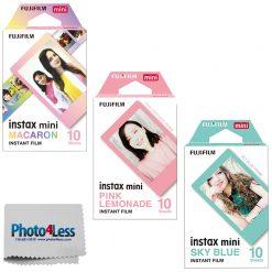 Fujifilm Instax Mini Film Macaron | Pink Lemonade | Sky Blue -10 Sheets Per Pack