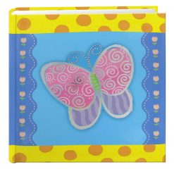 "Pioneer Photo Album 4""X6"", 2-Up, 200 Pocket 3-D Applique Designer Bi Directional Memo Album Butterfly"
