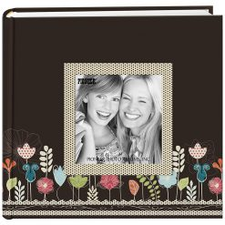 "Pioneer Photo Album 4""X6"", 2-Up, 200 Memo Pocket Designer Raised Frame Photo Album Garden"