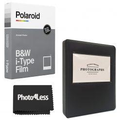 Polaroid B&W Film for I-Type + Black Album - Holds 32 photos + cloth