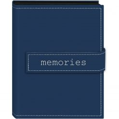 """Pioneer Photo Album 4""""X6"""", 1-Up, 36 Pocket Expressions Embroidered Magnetic Strap Album Blue """"Memories"""""""