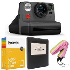 Polaroid NOW i-Type Camera - Black + Polaroid Color Film for i-Type - Double Pack + Album + Strap