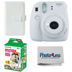 Fujifilm Instax Mini 9 Camera - Smokey White + Twin Pack Film + Wallet + Cloth