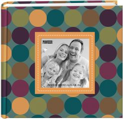 "Pioneer Photo Album 4""X6"", 2-Up, 200 Memo Pocket Designer Raised Frame Photo Album Dots"