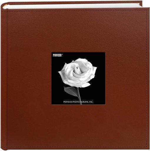 Pioneer Photo Album 4″X6″, 2-Up, 200 Pocket Sewn Leatherette Frame Bi Directional Album Brown