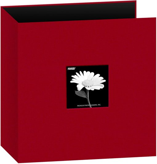 Pioneer Photo Album 8.5″X11″ Scrapbook 3-Ring Binder Frame Fabric Red