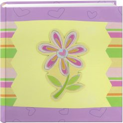 "Pioneer Photo Album 4""X6"", 2-Up, 200 Pocket 3-D Applique Striped Bi-Directional Memo Album Striped Flower"