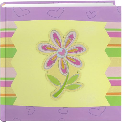Pioneer Photo Album 4″X6″, 2-Up, 200 Pocket 3-D Applique Striped Bi-Directional Memo Album Striped Flower