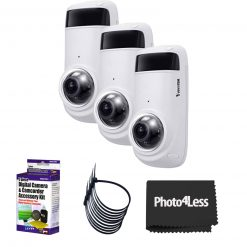3 Vivotek CC9381 -HV 5MP OUtdoor Network Fisheye Cameras with Night Vision+ 5 Piece Cleaning Kit+ 4 Packs of 5 Zip Ties