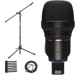 Lewitt Dynamic Microphone for Kick Drum & Bass + On Stage MS7701B Euro Boom Mic Stand + Cable Ties + XLR Mic Cable