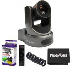 PTZOptics 30X-SDI Gen 2 Live Streaming Broadcast Camera, Gray+ 5 Piece Cleaning Kit+ Rip Ties