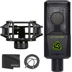 LEWITT LCT 240 PRO Condenser Microphone, Black + Lewitt Shock Mount + XLR Mic Cable + Photo4less Cleaning Cloth