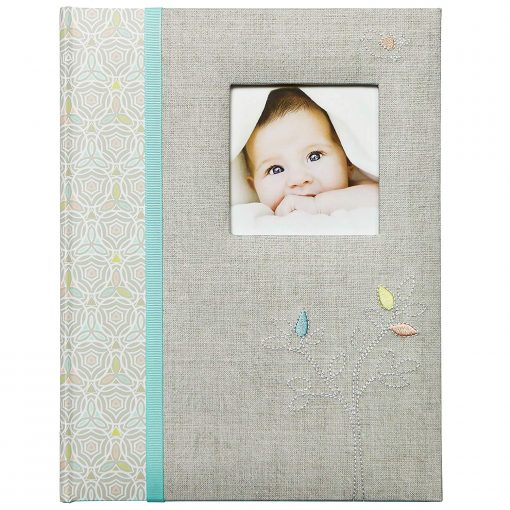 """C.R. Gibson Grey 'Linen Tree' Bound First Five Years Memory Baby Book, 64pgs, 9"""" W x 11"""" H"""