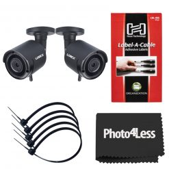 "2 Lorex HD 1080p Outdoor Wireless Security Camera+  Hosa Label A Cable Kit 60 Peel Off Labels+ 5 8"" Black UV Resistant Zip ties"