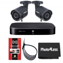 """2 Lorex HD 1080p Outdoor Wireless Security Cameras+ Lorex 1080p HD Analog Security 2 TB DVR with Advanced Motion Detection Technology and Smart Home Voice Control+ Hosa Label A Cable Kit 60 Peel Off Labels+ 2 Packs of 5 Black UV Resistant 8"""" Zip Ties+ Cle"""
