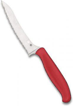 Spyderco Z-Cut Kitchen Knife -Pointed Tip Blade & Red Handle -SpyderEdge -K14SRD