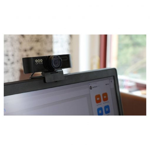 """PTZOptics 1080p Webcam with 80° Field of View and Built-In Microphone Array, Black+ Vidpro 8"""" LED Ring Light Table Top Tripod"""