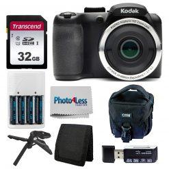 Kodak PIXPRO AZ252 Digital Camera (Black) Kit + 32GB Memory Card + Accessories