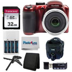 Kodak PIXPRO AZ252 Digital Camera (Red) Bundle + 32GB Memory Card + Accessories