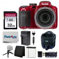 Kodak PIXPRO AZ421 Digital Camera (Red) Bundle with SD Card, Case, & More!