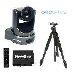 PTZOptics 30X-SDI Gen 2 Live Streaming Broadcast Camera, Gray+ Slik Aluminum Tripod