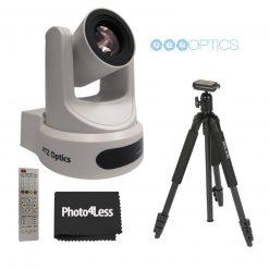 PTZOptics 30X SDI Gen 2 Live Streaming Broadcast Camera, White+ Slik Aluminum Tripod