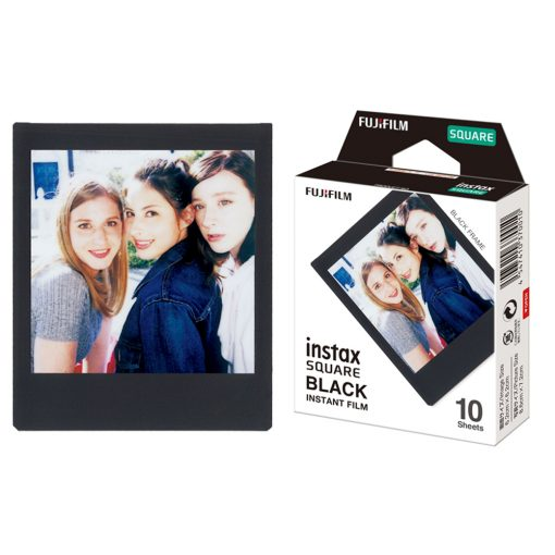 Fujifilm Instax Square Instant Film - 10 Exposures - Black 2 Pack + Hanging Frames + Cleaning Cloth
