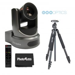 PTZOptics 20x-SDI Gen2 Live Streaming Camera (Gray)+ Slik  Aluminum Tripod- High Quality Bundle