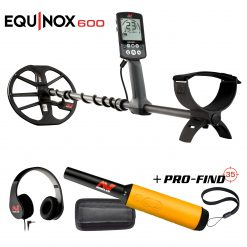 "Minelab EQUINOX 600 Multi-Purpose Metal Detector with EQX 11"" Double-D Smart Coil + PRO-FIND 35 Precision Pinpointer"
