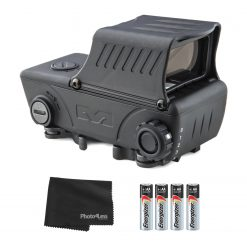 Meprolight RDS Pro V2 Electro-Optical Red Dot Sight, Green Bullseye Reticle + 4 Additional AA Batteries