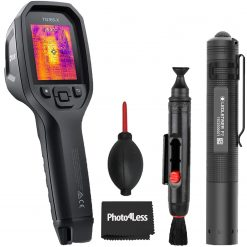 FLIR TG165 X Spot Thermal Camera + LEDLENSER - P2 Mini Key-Chain Flashlight,16 Lumens, Black + Dust Blower + Cleaning System + Cloth