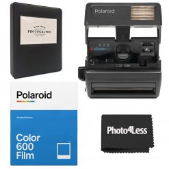 Polaroid 600 Camera-One Step Close up + Polaroid Color Film for 600 + Album + Cloth