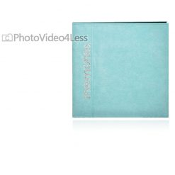 Pioneer 12 Inch by 12 Inch Faux Suede with Rhinestone Appliques Memory Book, Aqua