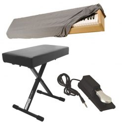 On Stage Deluxe X-Style Bench KT7800 Plus + 88-Key Keyboard Dust Cover + KSP100 Universal Keyboard Sustain Pedal