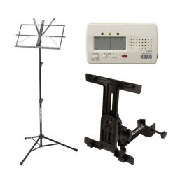 Ultimate Support Compact Music Stand + Universal iPad Holder for Tablet Computer + Korg CA2 Tuner