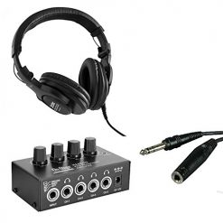 On Stage Stands WH4500 Pro Studio Headphones + On-Stage Stands HA4000 Pro Headphone Amplifier + Hosa 1/4 inch TRS Extension Cable - Ultimate Studio Accessory Bundle