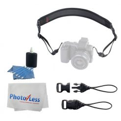 OP/TECH USA Mirrorless Strap with Mini QD Connectors + Op/Tech System Connectors, Mini QD Loops 1.5mm + 3 Piece Cleaning Kit + Photo4Less Cleaning Cloth - Valued Accessory Bundle